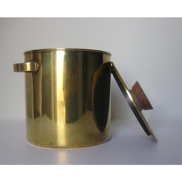 Mid-Century Italian Brass & Teak Ice Bucket - Image 5 of 13