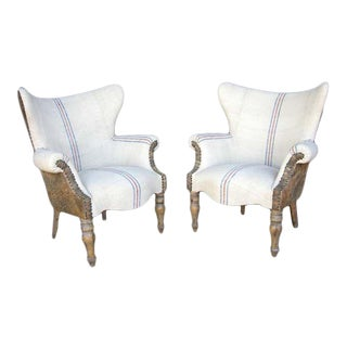 Custom Lambskin and Vintage Linen Chairs For Sale