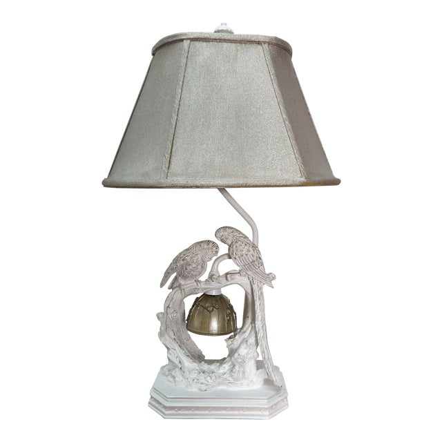 Parakeet Lamp in White Lacquer With Multiple Setting Lights With Silver Shade For Sale