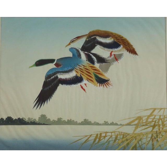 Vintage Japanese Ducks Silk Painting - Image 2 of 5