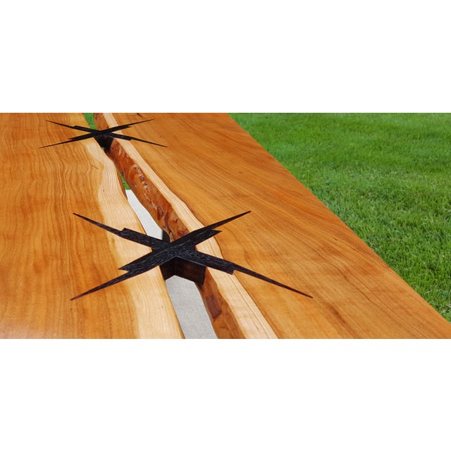 Inlaid Modern Cherry Slab Coffee Table For Sale - Image 4 of 5
