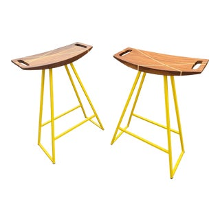 Tronk Design Robert Walnut Yellow Dining Stools - a Pair For Sale