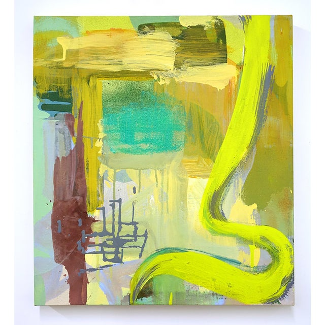 """Molly Herman Molly Herman """"Sonal Yellow"""" Abstract Painting For Sale - Image 4 of 4"""