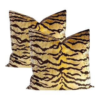 Velvet Tiger Pillows - Set of 2 ~ Down Feather Inserts Included. For Sale