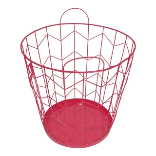 Contemporary Red Wire Metal Waste Receptacle
