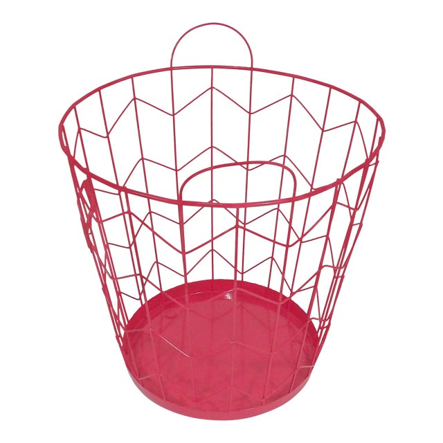 Contemporary Red Wire Metal Waste Receptacle For Sale