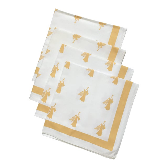 Large Gold White Angel Table Napkins - Set of 4 - Image 1 of 4