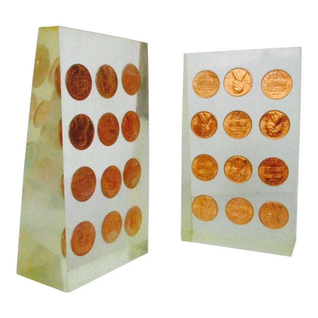1972 Lucite Penny Bookends - A Pair - Image 1 of 8