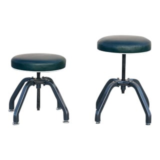 1940s Buty-Crafters Salon Stools Refinished with Leather Seats - a Pair For Sale