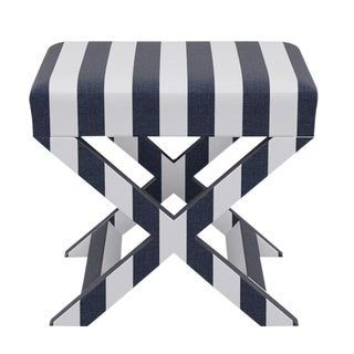 X Bench in Navy Cabana Stripe For Sale
