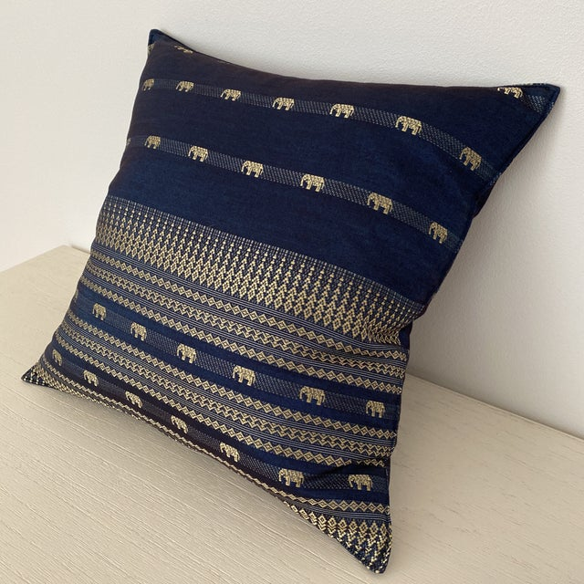 Blue Thai Silk Pillow With Elephant Motif For Sale - Image 4 of 13