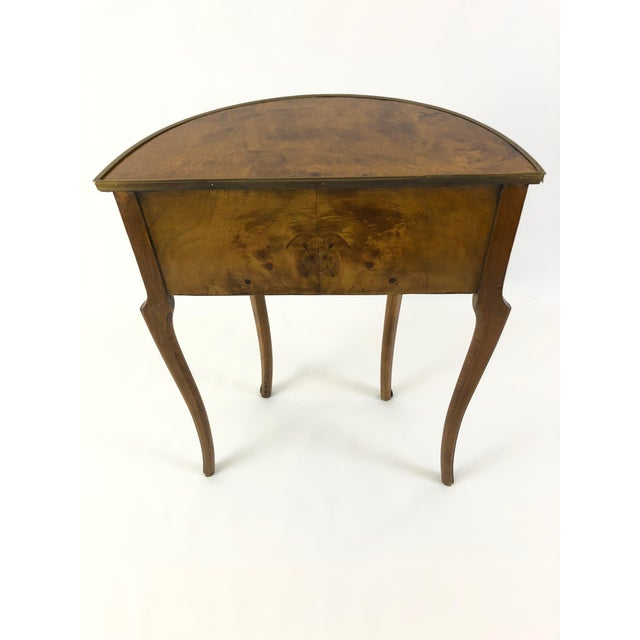 1960s Italian 3 Drawer Burlwood Demilune Console For Sale - Image 4 of 11