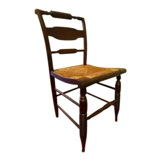 Antique English Carved Wood Barley Twist Legs With Rush Seat Side Chair For Sale