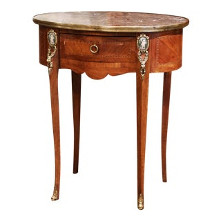 19th Century French Walnut Marquetry Side Table With Marble Top and Brass Rim For Sale