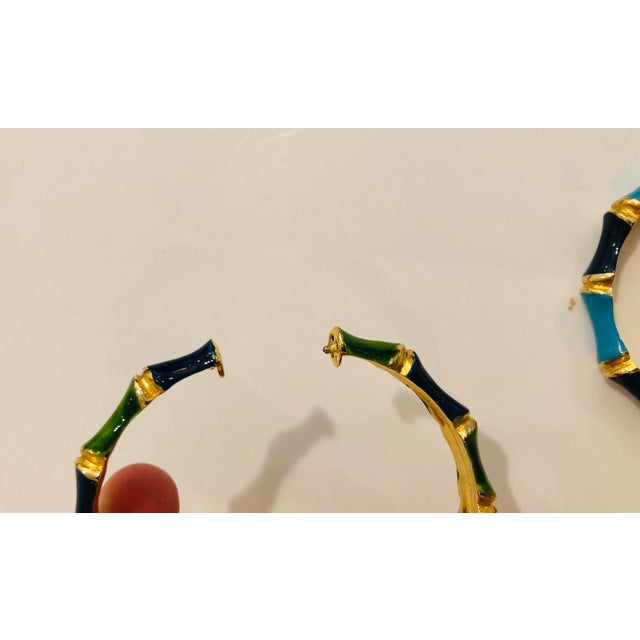 1980s 1980s Bamboo Shaped Enameled Bracelets - a Pair For Sale - Image 5 of 7
