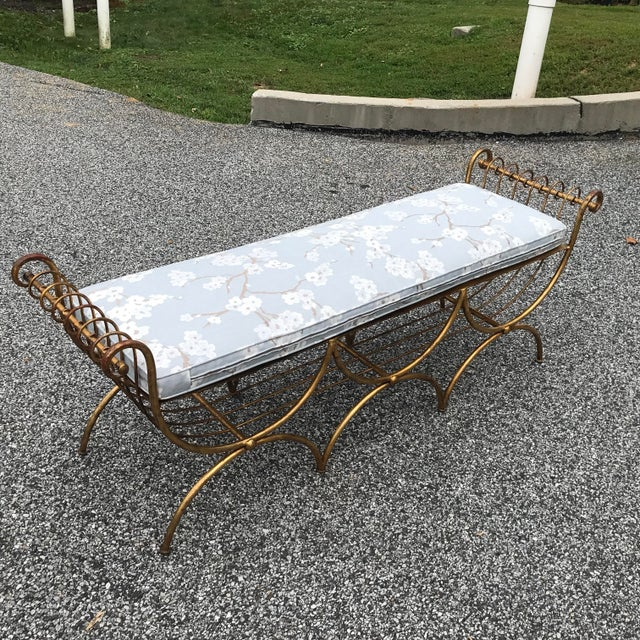 Vintage Mid Century Hollywood Regency Gilt Metal Bench For Sale - Image 10 of 13