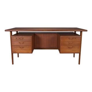 Danish Teak Desk With Floating Top by Kai Kristiansen For Sale