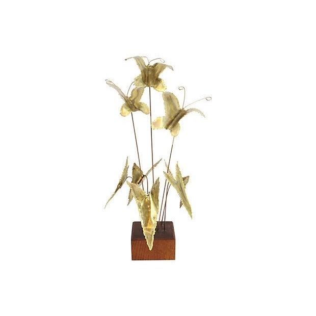 Mid-Century Gilded Butterfly Kinetic Sculpture - Image 1 of 3