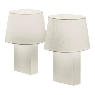 'Bloc' Parchment Lamps With Parchment Paper Shades by Design Frères - a Pair For Sale