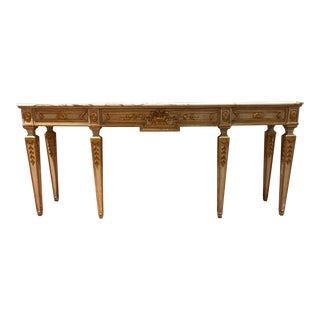 Painted Parcel Gilt Italian Neoclassical Console Table With Marble Top For Sale