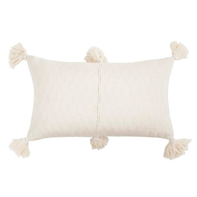 Boho Chic Antigua Natural White Tassel Pillow For Sale - Image 4 of 4