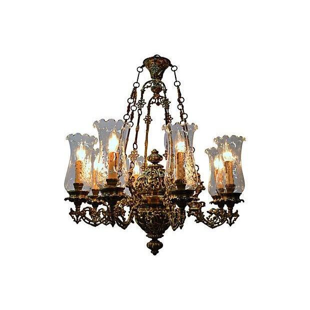 Antique Brass Chandelier 8 Lights W/Windshields - Image 4 of 7