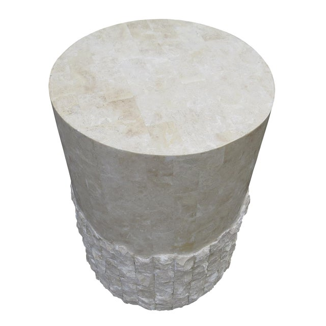 Modern 20th Century Vintage Marquis Collection of Beverly Hills Postmodern Tessellated Stone Pedestal / Pedestal Table Base For Sale - Image 3 of 13