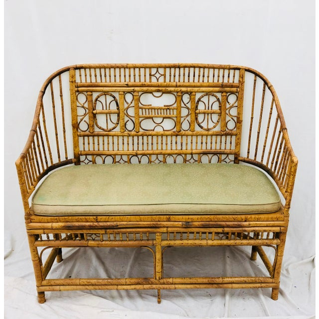 Brighton Pavilion Vintage Scorched Bamboo & Cane Settee For Sale - Image 4 of 13
