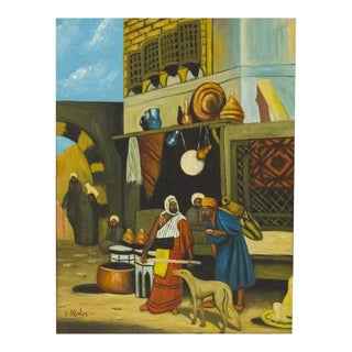Moroccan Oil Painting On Canvas For Sale