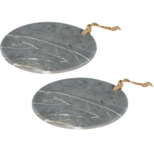 Sarreid Ltd. Marly Marble Plates - a Pair - Image 1 of 3