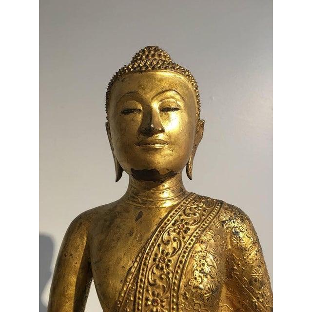 Bronze Thai Rattanakosin Lacquered Gilt Bronze Image of Buddha Maravijaya For Sale - Image 7 of 10