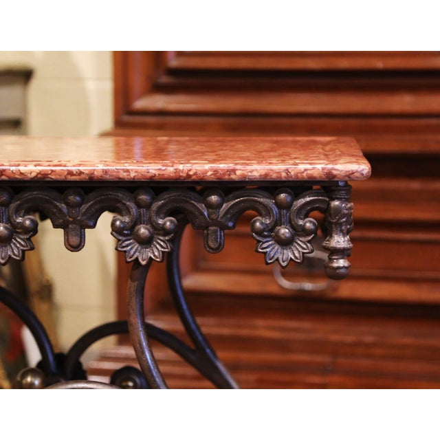 Metal French Polished Iron and Brass Pastry Table With Variegated Red Marble Top For Sale - Image 7 of 11