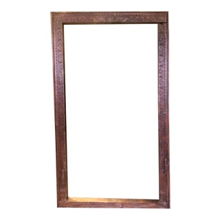 Rustic Antique Hand Carved Window Frame Jharokha Teak Wood Decorative Picture Mirror Frame For Sale