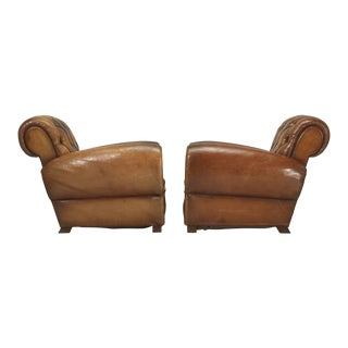 French Leather Club Chairs With Unusual Tufted Backs - a pair For Sale