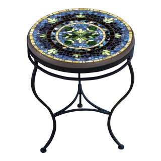 """Lake Como 18"""" Side Table with Black Base For Sale"""