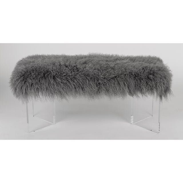 """Curly V 48"""" Bench Grey Made of Tibetan Lamb Please allow 4 weeks before the item ships."""