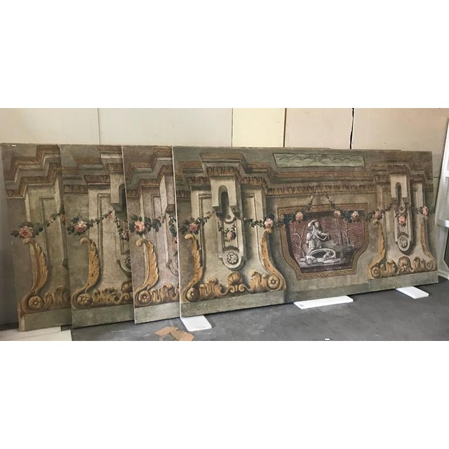 A rare set of four Italian 18th century panels, gouache on canvas from the music room of an historical Villa in the Lucca...