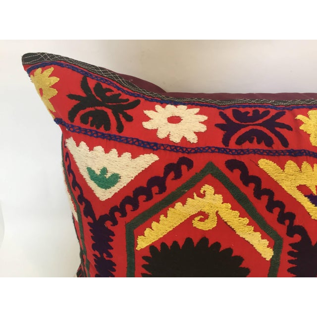 Pink Vintage Large Colorful Suzani Embroidery Decorative Throw Pillow From Uzbekistan For Sale - Image 8 of 13