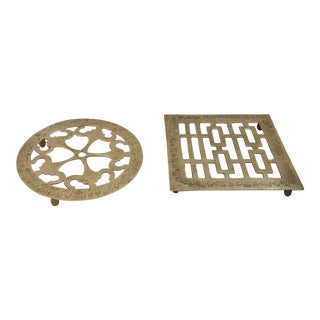 Vintage Asian Inspired Brass Trivets - a Pair For Sale