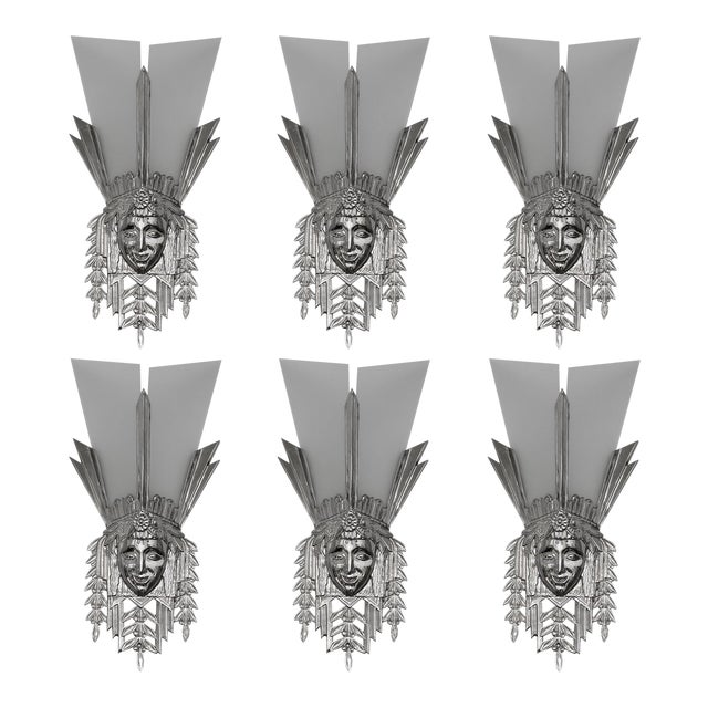 Art Deco Heavy Nickeled Bronze Light Sconces W/ Frosted Glass - Set of 6 For Sale