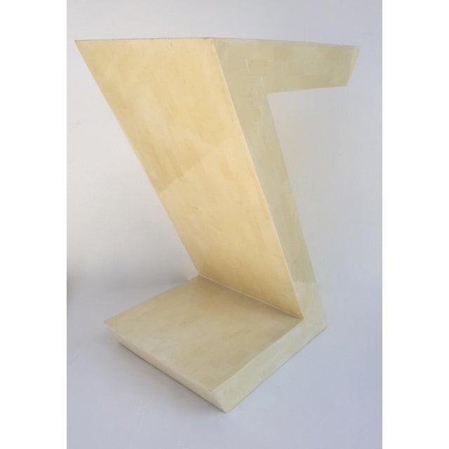 """1970s Karl Springer Attr. Inlaid Bone Tessellated """"Zig-Zag"""" Side/End Table For Sale - Image 5 of 13"""