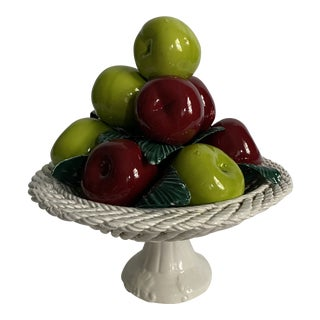 Italian Majolica Apples Compote For Sale