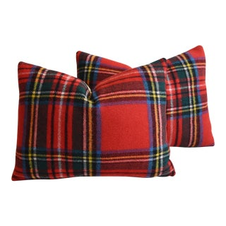 "Scottish Tartan Plaid Wool Feather/Down Pillows 24""x18"" - Pair For Sale"