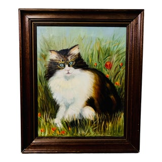 "1963 Vintage F. McDuff ""Cat in Field"" Oil Painting For Sale"