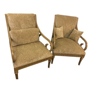Late 20th Century Vintage Henredon Modern Bergere Chairs - Pair For Sale