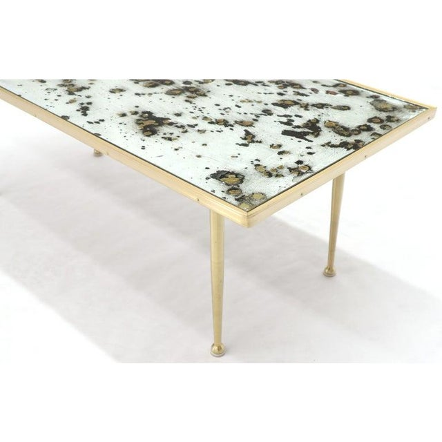 Small Italian Rectangular Coffee Table on Brass Legs Mirrored Top For Sale - Image 9 of 10