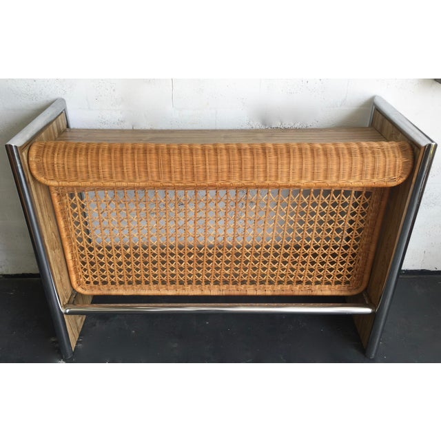 1970's Chrome,Faux Wood & Rattan Bar - Image 2 of 5