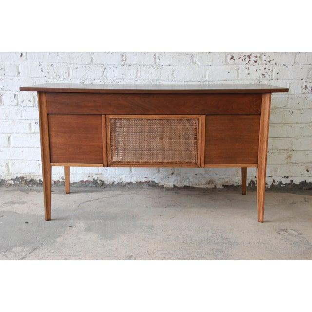 1960s Broyhill Brasilia Mid-Century Modern Sculpted Walnut Desk For Sale - Image 5 of 13
