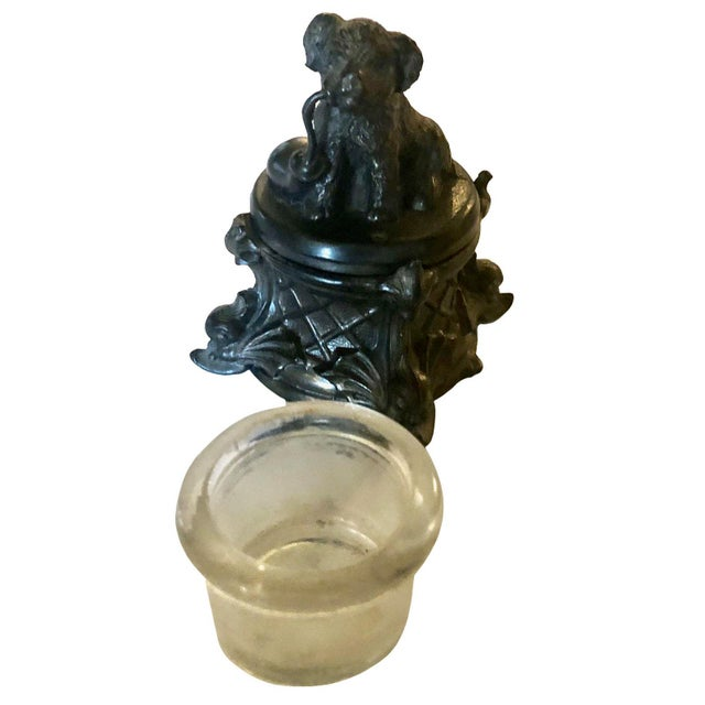 This antique French inkwell with a dog, a wonderful little thing The bottom and the interior are made out of lead and some...