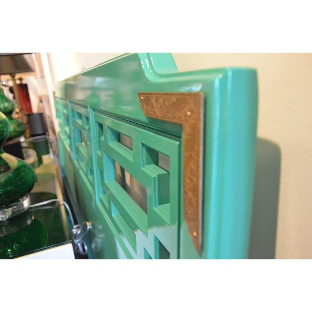 Mid Century Modern Hollywood Glam Brass & Lacquered Green Wood Queen Fretwork Headboard - Image 4 of 5